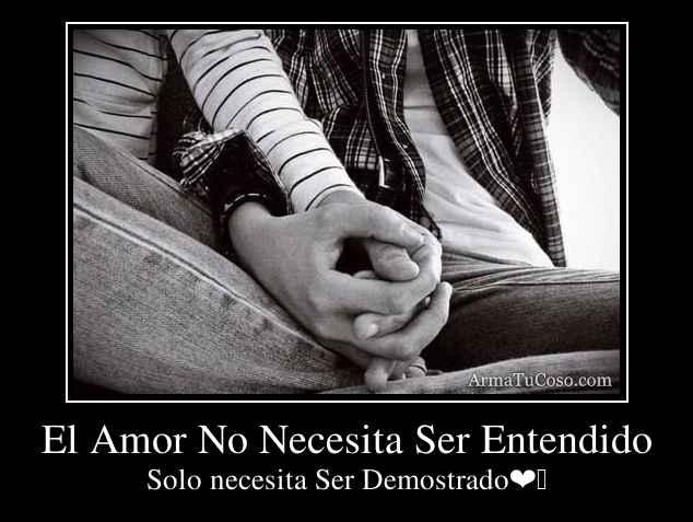 El Amor No Necesita Ser Entendido