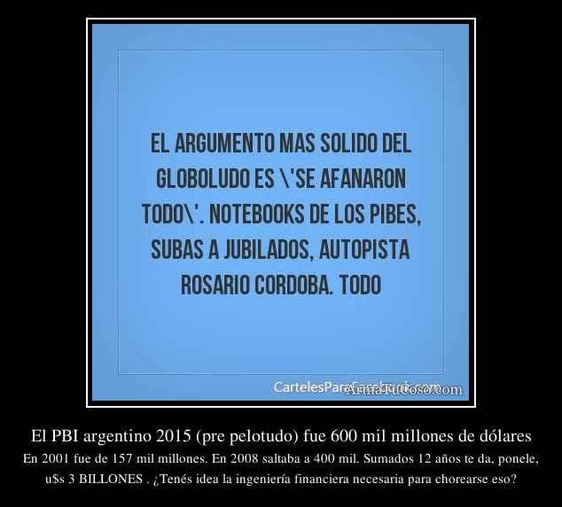 El PBI argentino 2015 (pre pelotudo) fue 600 mil millones de dólares