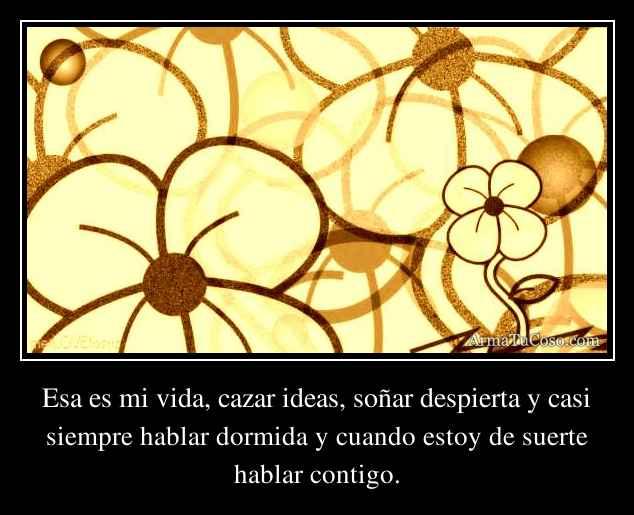 Esa es mi vida, cazar ideas, soñar despierta y casi