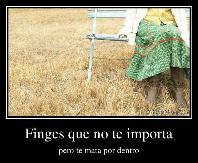 Finges que no te importa
