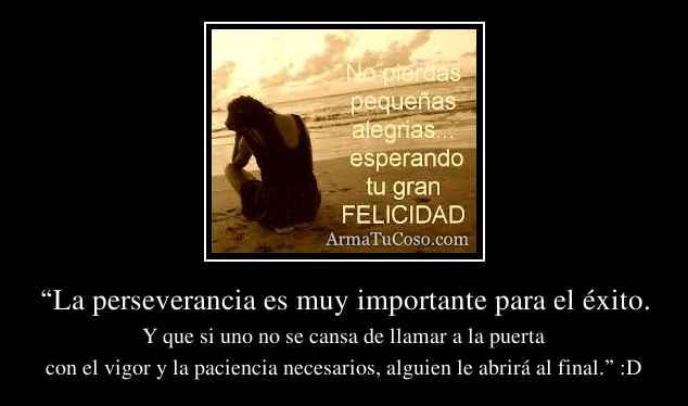 """""""La perseverancia es muy importante para el éxito."""