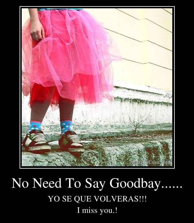 No Need To Say Goodbay......