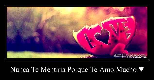 Nunca Te Mentiria Porque Te Amo Mucho ♥