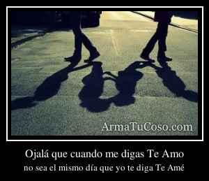 Ojalá que cuando me digas Te Amo