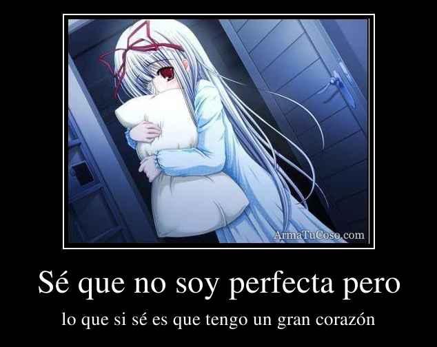 Sé que no soy perfecta pero