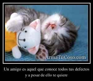 Un amigo es aquel que conoce todos tus defectos